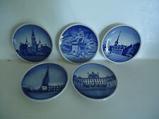 Five Mini Blue Delft Royal Copenhagen Wall Plates With Beehive Mark