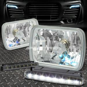 CLEAR SQUARE DIAMOND PROJECTOR HEADLIGHT+8 LED SMOKE FOG LIGHT FOR 7X6 H6054