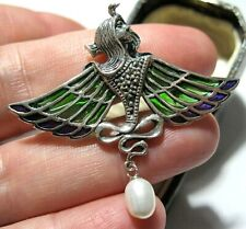 Sterling Silver Plique a Jour Enamel Egyptian Goddess ISIS Shawl Pin BROOCH