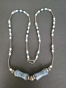An elegant facetted Iolite colored beads, rice pearls,unique blue beads necklace