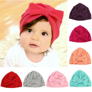 Toddler Baby Kids Girls Stretchy Turban Hat Bowknot Beanie Hat Hair Head Wrap