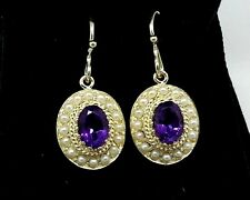 E064- Genuine 9ct Yellow Gold Natural Amethyst & PEARL Cluster Drop Earrings