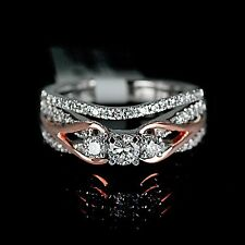 Ladies Two Tone White Rose 10K Gold Real Diamond Ring Set Wedding Engagement