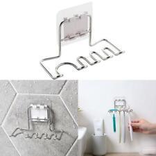 Stainless Steel Wall Mount Toothbrush Holder Storage Bathroom Razor Organizer