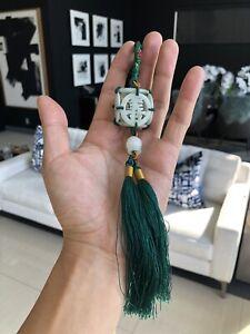 Fine VTG Antique Chinese Jade Carved Auspicious Scholar Art Silk Tassel Pendant
