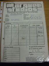 13/01/1978 Fulham: Marquee Studios-una ricevuta & Copia Carbone, per l'uso del