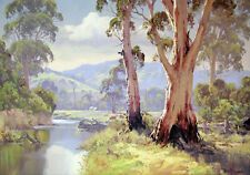 Australian Painting Bush Gum Tree River Landscape Quality Canvas Print LARGE