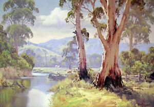 Australian Painting Bush Gum Tree River Landscape Quality Canvas Print A3