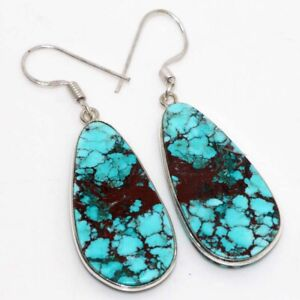"""Turquoise 925 Sterling Silver Plated Earrings 2.2"""" Gift Jewelry GW"""