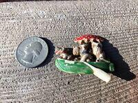 VTG PLASTIC SCOTTIE DOGS IN A BOAT ROWING W/UMBRELLA PIN CZECHOSLOVAKIA BROOCH
