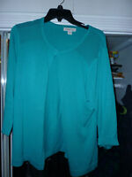 cardigan sweater Coldwater Creek cotton silk teal long sleeve preworn nice L 14
