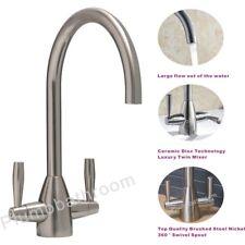 Modern Twin Control Swivel Spout Brushed Steel Monobloc Kitchen Sink Mixer Tap