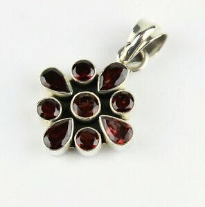 Garnet Pendant Real Gemstone 925 Silver Wine Red Vintage Classy Gift L 42 MM
