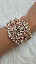 Luxe or rose cristal et perle bracelet/manchette, mariée au poignet, ivory pearl bracel