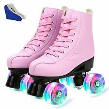 New listing Women's Roller Skates Adjustable PU Leather High Top Double Row Skates Classi...