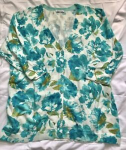 New ISAAC MIZRAHI Floral Cardigan Sweater V-Neck Button Front 3X