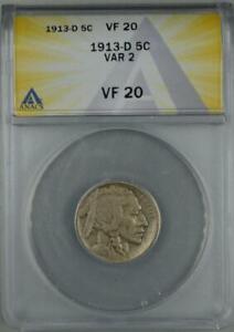 1913 D TYPE 2 Buffalo Nickel ANACS VF20 No Reserve Auction 99C Opening Bid