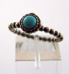 ALE Pandora Sterling Silver Turquoise Ring 925 Size 6.75 Dot Band Motif 3.3g