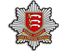 4x4 inch ESSEX Fire Rescue Service Crest Shaped Sticker -firefighter england uk