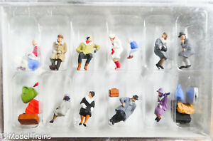 Preiser HO #10317 Seated Passengers in Winter Clothes (Painted) 1:87th Scale