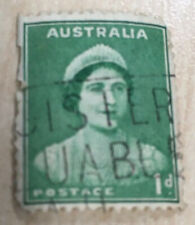 Vintage Australia 1d green Queen mother used Stamp FREE P+P
