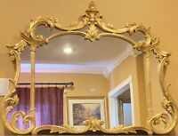 "VTG ORNATE ITALIAN CARVED GOLD GILT MANTLE WALL HANGING MIRROR 52 1/2"" X 40"""