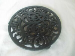 Vintage Round Cast Iron Black Trivet