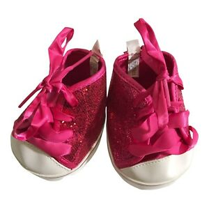 BABW Sneakers Build-a-Bear Workshop Pink Glitter Hi-top Tennis Shoes Fuchsia