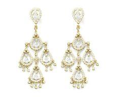 14 Karat Gold Plated .925 Sterling Silver CZ Pear Chandelier Earrings