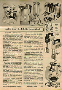 1957 PAPER AD Hobart Kitchenaid K5-A Electric Food Mixer Nu Tone Built In Power
