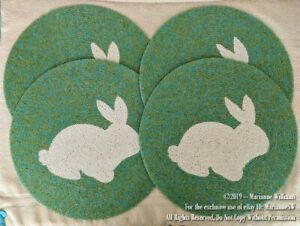 """4 NEW! BEADED 14"""" PLACEMAT TABLE MAT EASTER BUNNY SPRING COLORS TABLE DECOR"""