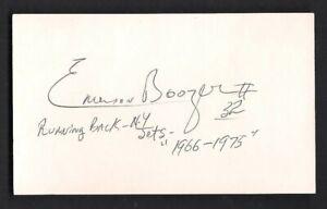 Emerson Boozer Signed 3x5 Card-NFL Football-1960's New York Jets--Inscription