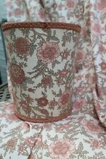"Vintage 60s/70s Peach Pink Floral Curtains 64""W x 57.5""D + Matching Bin!"