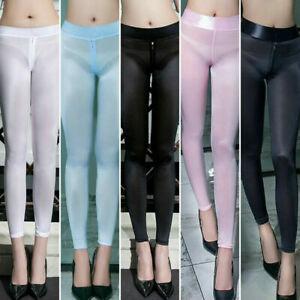 Women's Zipper Open Crotch See Through Leggings Sheer Silky Shiny Pants Trousers