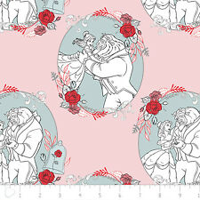 Disney Beauty & the Beast Belle Love Lite Pink 100% Cotton fabric by the yard