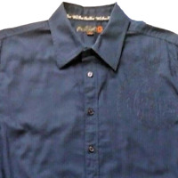 Guess Mens XL Shirt Blue Casual Extra Large Stripe Button Down Long Sleeve 02S