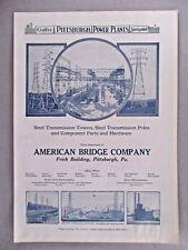 American Bridge Company PRINT AD - 1921 ~~ electric power plant