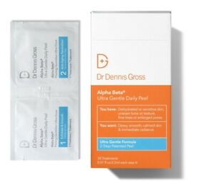 DR DENNIS GROSS ALPHA BETA ULTRA GENTLE DAILY PEEL 30 COUNT TREATMENTS $88 BOXED