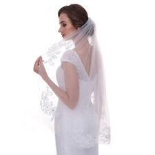 Bridal veil 1 tier white lace appliques with crystal