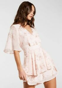 Dotti 14 Pink Floral Ruffle Wrap Playsuit Romper Fluted Sleeve EUC