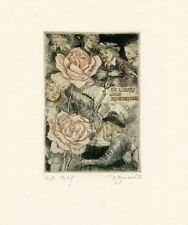Roses, Kiss, Ex libris  Bookplate Etching by David Bekker