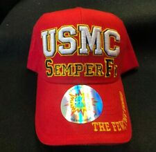 MILITARY INSPIRED NOVELTY SEMPER FI MARINE HAT RED AND GOLD USMC LOGO BASEBALL