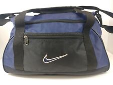 Vintage 90's Nike Swoosh Logo Blue Black Small Canvas Duffel Gym Bag