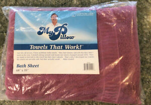 """MY PILLOW -PLUM  Bath Sheet OVERSIZED 68"""" by 35"""" -  New in Package MADE IN USA"""