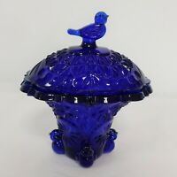 Vintage Glass Colbalt Blue Covered bowl intricate design with bird on top NICE