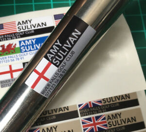 16x Personalised Named Flag Ski Golf Club Cycling Putter Stickers 36x12mm
