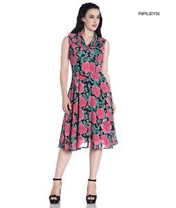 Hell Bunny 40s 50s Elegant Pin Up Dress EDEN ROSE Darcy Black Chiffon All Sizes