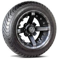 "(4) Fairway Alloys 12"" Battle Golf Cart Car Rim Wheel & 215-50-12 ProRider Tires"