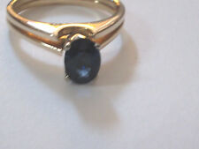 14K Yellow Gold Sapphire Split Shank Solitaire Ring  Size 6