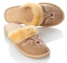 Damen Leder Winter Pantoffeln mit Schafwolle Strickwaren gefüttert 36 - 42 NEU